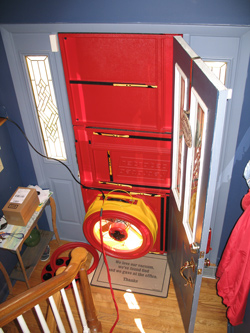 Blower door test for Cary homes